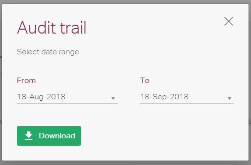 Audit trail download window