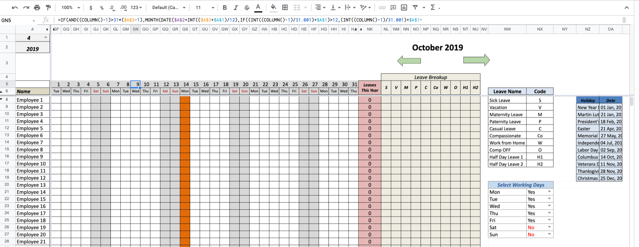 A preview of what it looks like to track employee leave in an Excel spreadsheet.