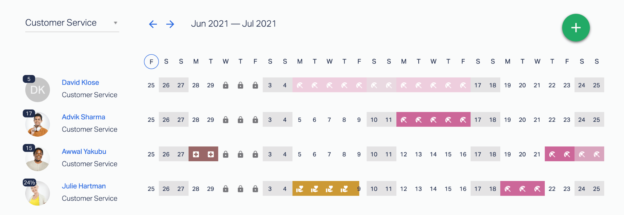 A preview of all employees with a calendar showing what dates they are taking off and why (the reasoning is only available to managers).