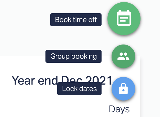 Book time off, Group booking, or Lock dates