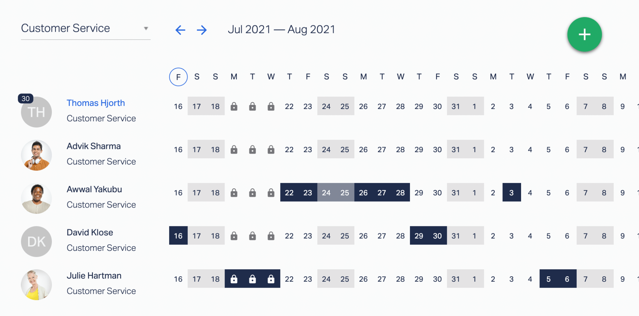 A preview of a Customer Service team calendar for June and July 2021 in Timetastic.