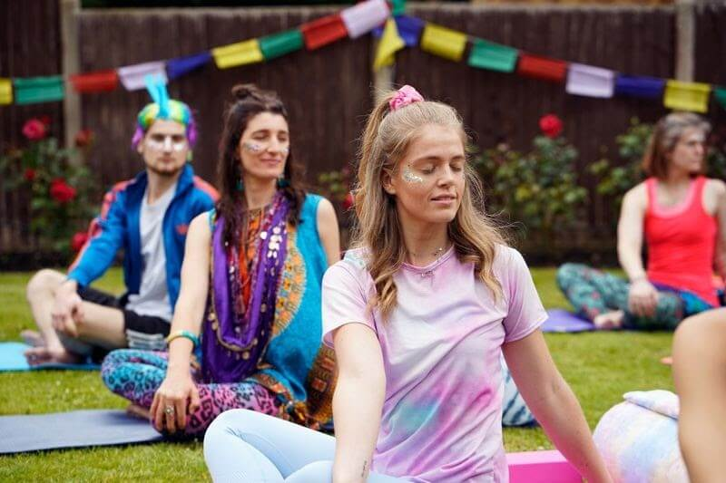 A photo of Twanna Doherty of Yogamatters in the middle of a Yoga class.