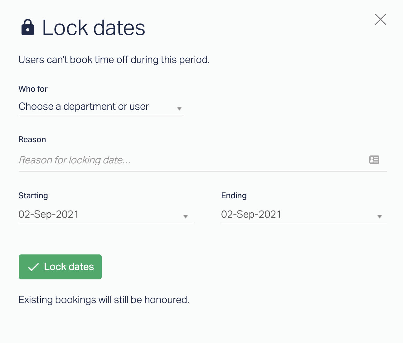 """Cassie's tweet: """"Locked Dates: Users can't book time off during this period."""