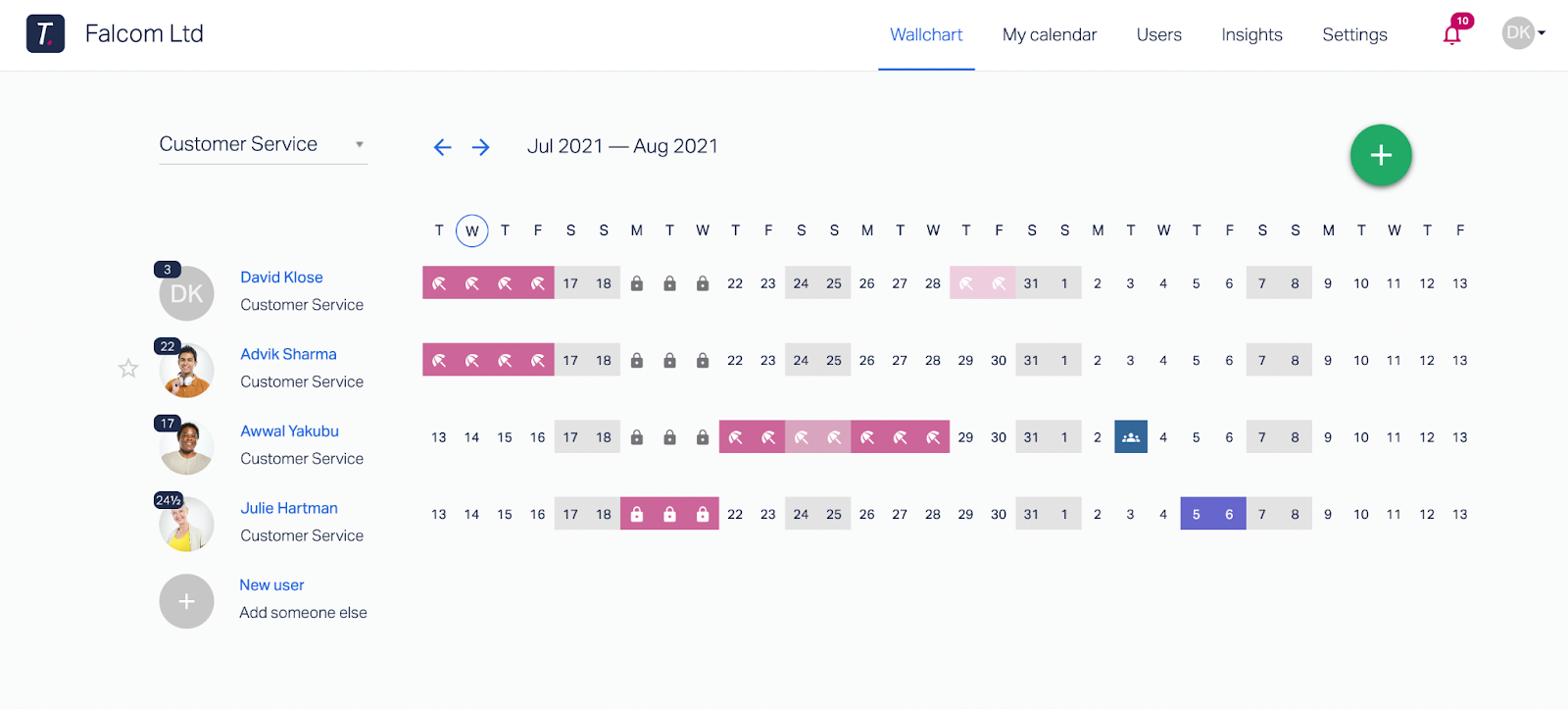 A preview of what a Wallchart looks like within Timetastic.