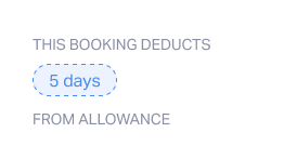 This booking deducts from allowance
