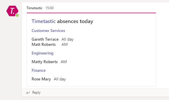 Teams daily absence summary